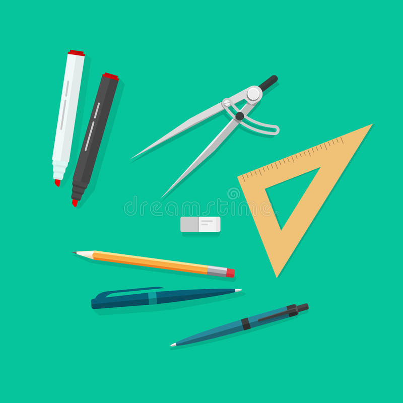 Στοιχεία εκπαίδευσης, εικονίδια εργαλείων σχολικής μελέτης καθορισμένα, αντικείμενα που απομονώνονται διανυσματική απεικόνιση