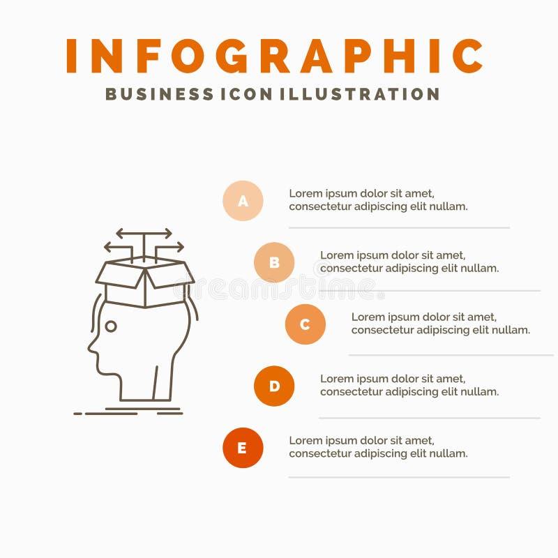 Στοιχεία, εξαγωγή, κεφάλι, γνώση, μοιραμένος το πρότυπο Infographics για τον ιστοχώρο και την παρουσίαση Γκρίζο εικονίδιο γραμμών ελεύθερη απεικόνιση δικαιώματος