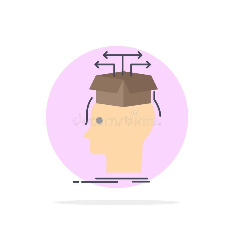 Στοιχεία, εξαγωγή, κεφάλι, γνώση, που μοιράζονται το επίπεδο διάνυσμα εικονιδίων χρώματος απεικόνιση αποθεμάτων