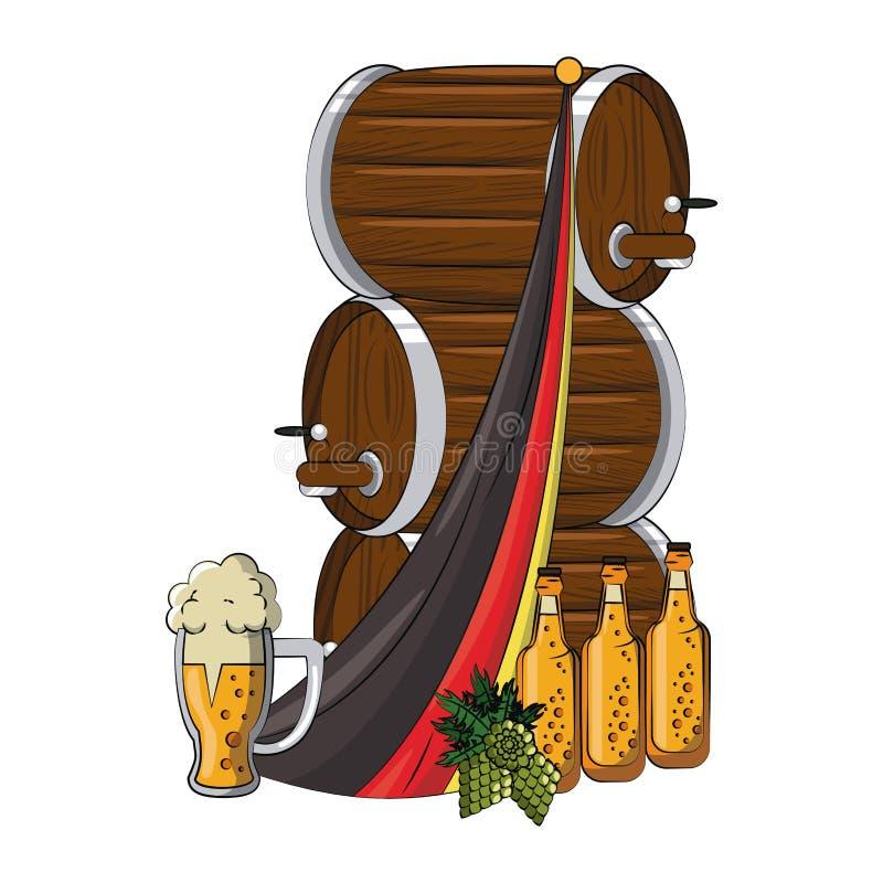 Στοιχεία ζυθοποιείων μπύρας διανυσματική απεικόνιση