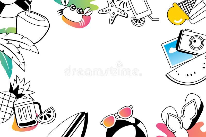 Στοιχεία θερινών doodles συμβόλων και εικονιδίων αντικειμένων με το διάστημα για το τ απεικόνιση αποθεμάτων