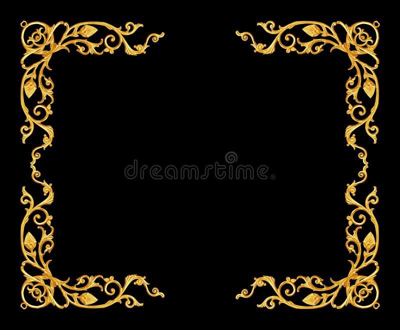 Στοιχεία διακοσμήσεων, εκλεκτής ποιότητας χρυσά floral σχέδια πλαισίων στοκ φωτογραφία με δικαίωμα ελεύθερης χρήσης