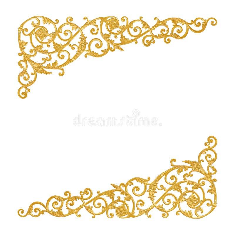 Στοιχεία διακοσμήσεων, εκλεκτής ποιότητας χρυσά floral σχέδια στοκ εικόνες με δικαίωμα ελεύθερης χρήσης