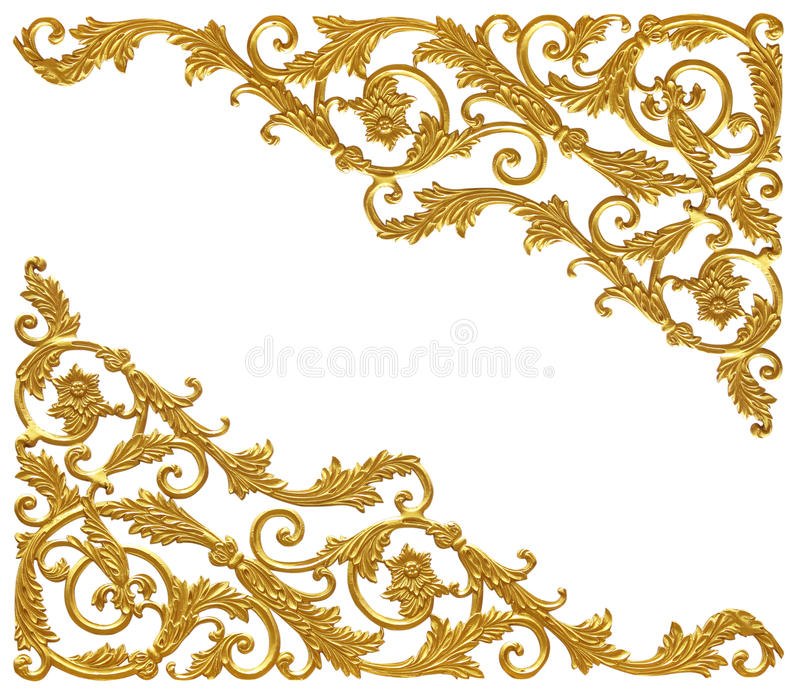 Στοιχεία διακοσμήσεων, εκλεκτής ποιότητας χρυσά floral σχέδια στοκ φωτογραφία