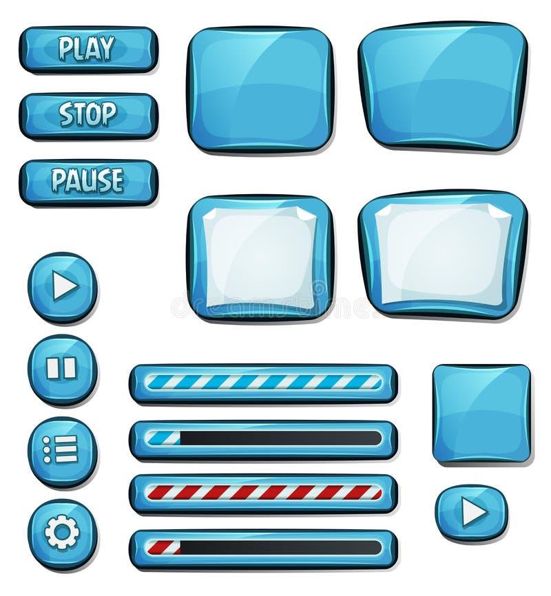 Στοιχεία διαμαντιών κινούμενων σχεδίων για το παιχνίδι Ui ελεύθερη απεικόνιση δικαιώματος