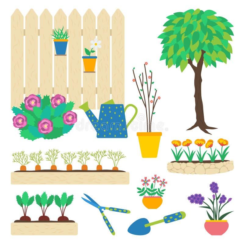 Στοιχεία κήπων καθορισμένα ελεύθερη απεικόνιση δικαιώματος