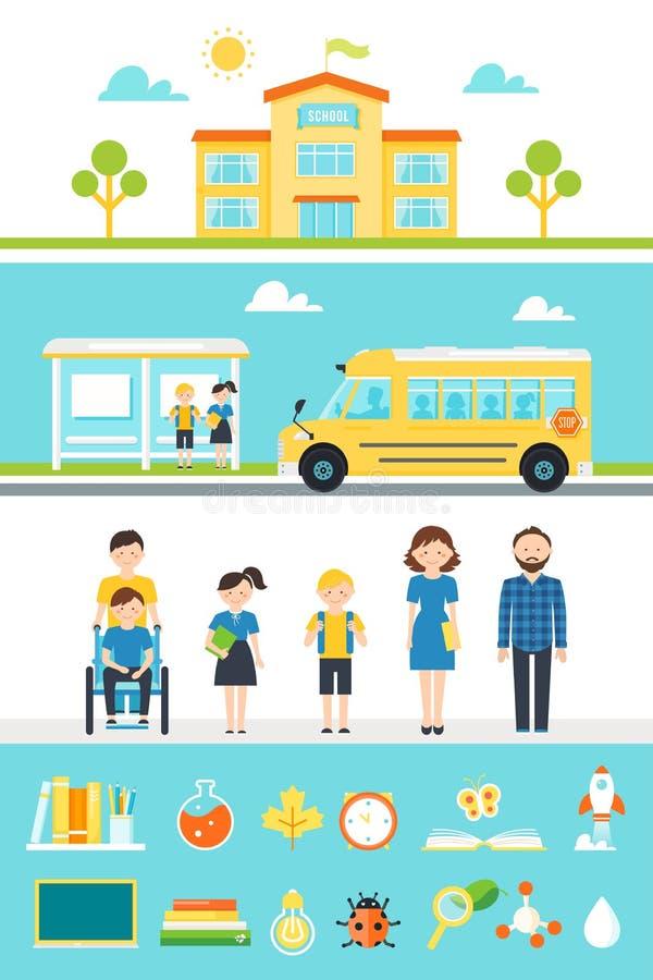 Στοιχεία και εικονίδια σχεδίου σχολικής εκπαίδευσης απεικόνιση αποθεμάτων