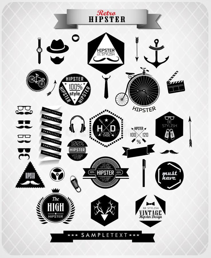 Στοιχεία και εικονίδια ύφους Hipster διανυσματική απεικόνιση