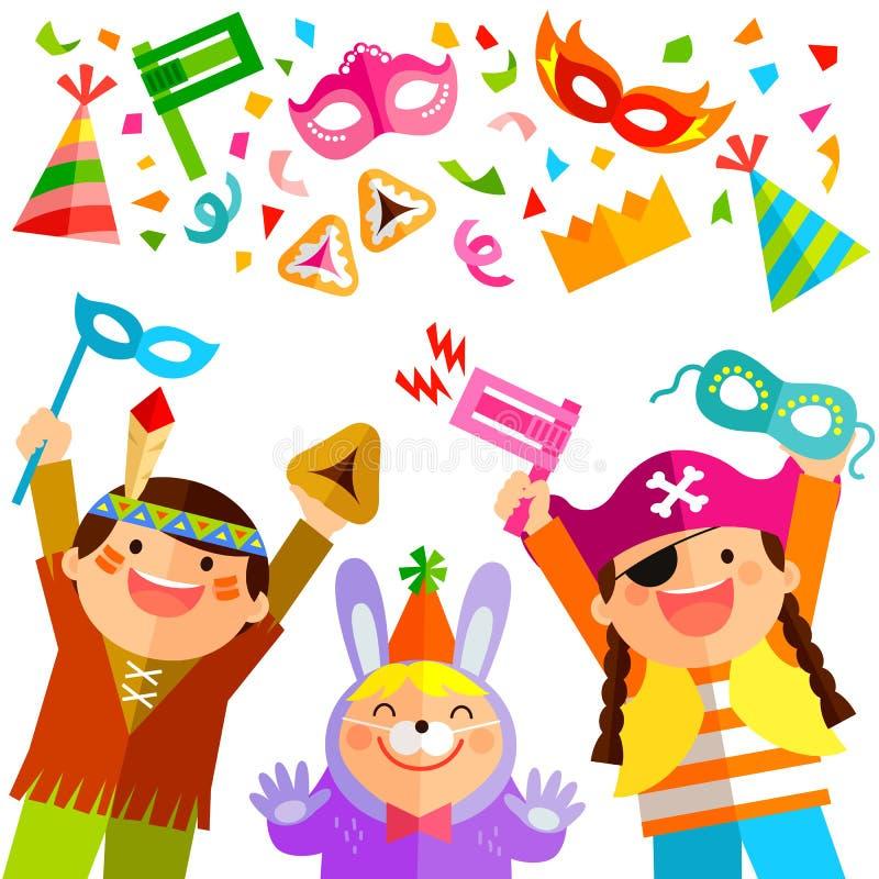 Στοιχεία και παιδιά Purim διανυσματική απεικόνιση