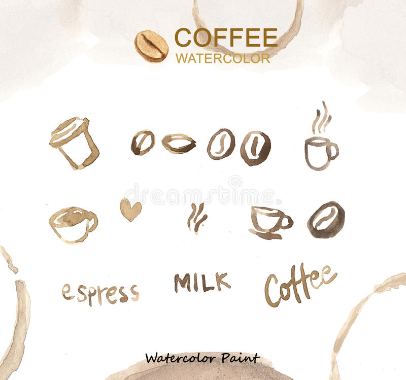 Στοιχεία καφέ, υψηλή ανάλυση χρωμάτων Watercolor στοκ εικόνες με δικαίωμα ελεύθερης χρήσης