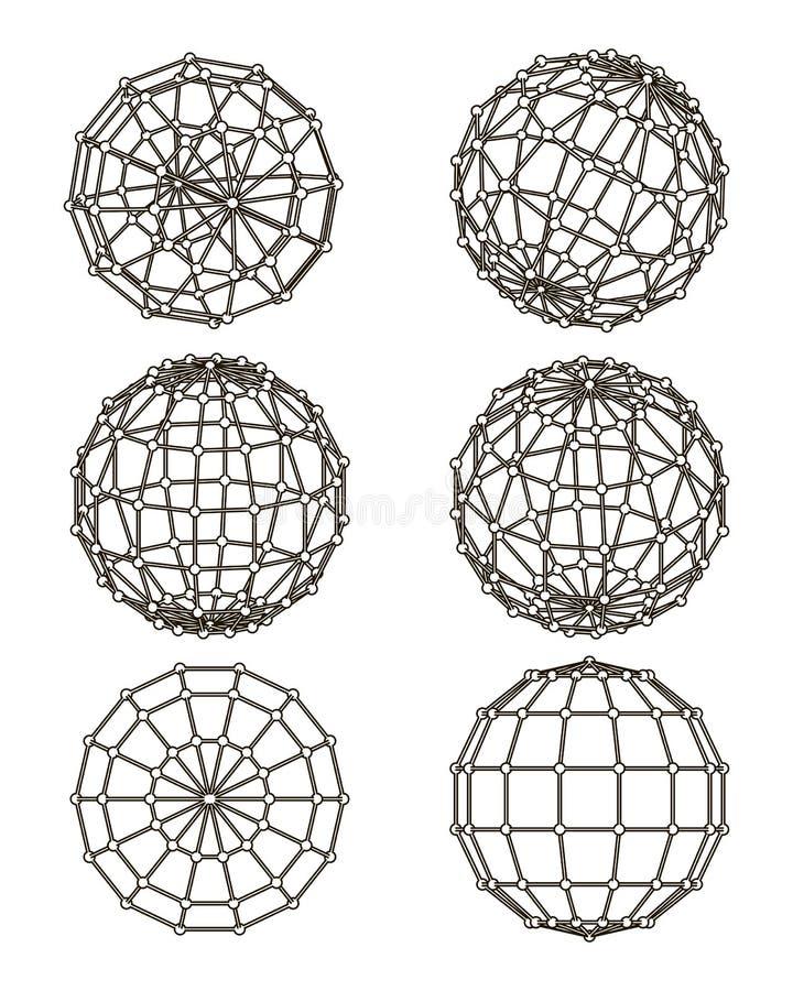 Στοιχεία καλώδιο-πλαισίων υπό μορφή σφαίρας διανυσματική απεικόνιση