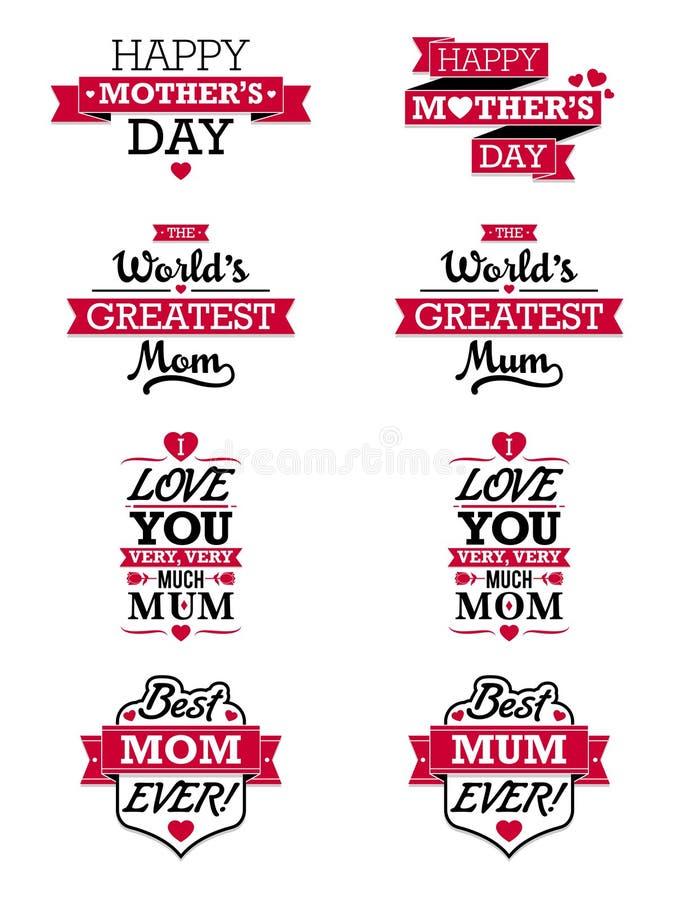 Στοιχεία κειμένων ημέρας μητέρων διανυσματική απεικόνιση