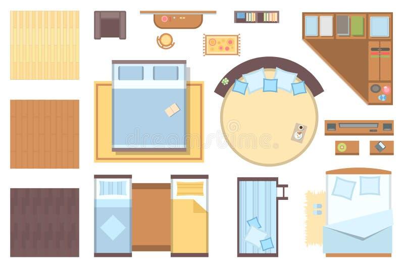 Στοιχεία κρεβατοκάμαρων - σύνολο σύγχρονων διανυσματικών αντικειμένων διανυσματική απεικόνιση