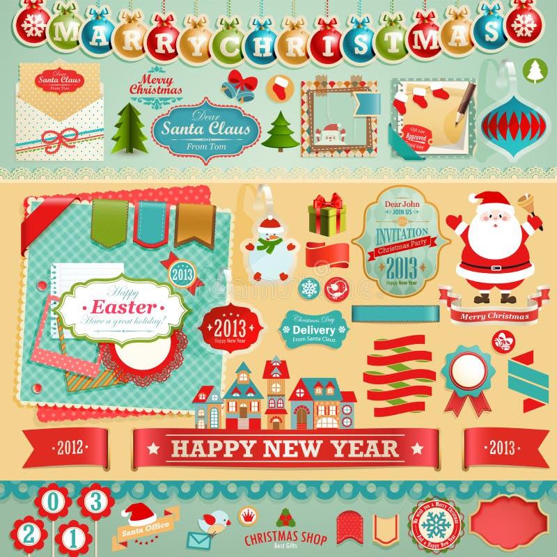 Στοιχεία λευκώματος αποκομμάτων Χριστουγέννων ελεύθερη απεικόνιση δικαιώματος