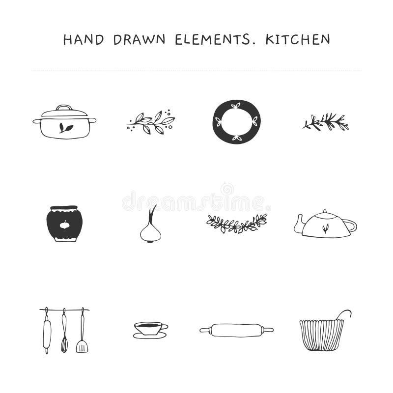 Στοιχεία λογότυπων κουζινών καθορισμένα Διανυσματικά συρμένα χέρι αντικείμενα απεικόνιση αποθεμάτων