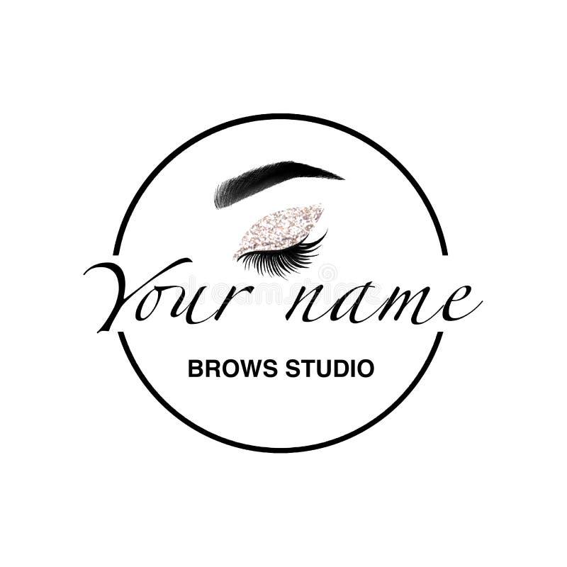 Στοιχεία λογότυπων στούντιο Brows Ετικέτα φραγμών Brow Φρύδια Μαρκάρισμα μικροϋπολογιστών Αποτελέστε το λογότυπο διανυσματική απεικόνιση