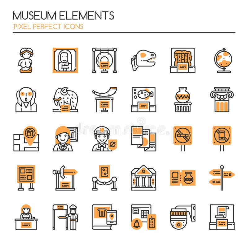 Στοιχεία μουσείων διανυσματική απεικόνιση