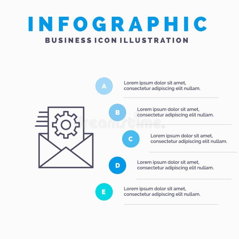 Στοιχεία, ολοκλήρωση στοιχείων, διαχείριση δεδομένων, εικονίδιο γραμμών ολοκλήρωσης με το υπόβαθρο infographics παρουσίασης 5 βημ απεικόνιση αποθεμάτων