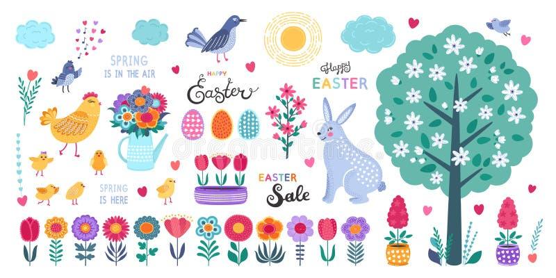 στοιχεία Πάσχας σχεδίου που τίθενται Συρμένο χέρι αυγά, κοτόπουλο, λουλούδια, τουλίπες, πουλιά, κουνέλι και καλλιγραφία στο λευκό απεικόνιση αποθεμάτων