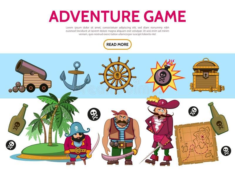 Στοιχεία παιχνιδιών περιπέτειας κινούμενων σχεδίων καθορισμένα απεικόνιση αποθεμάτων
