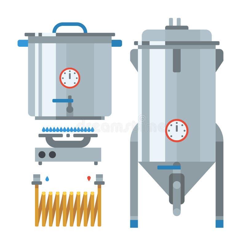 Στοιχεία παραγωγής εγχώριων παρασκευάζοντας εργοστασίων διάνυσμα απεικόνιση αποθεμάτων