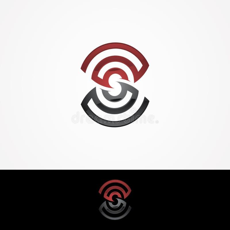 Στοιχεία προτύπων σχεδίου εικονιδίων λογότυπων γραμμάτων S με μια σήμα-διαμορφωμένη διασταύρωση κυκλικής κυκλοφορίας Σχέδιο λογότ διανυσματική απεικόνιση