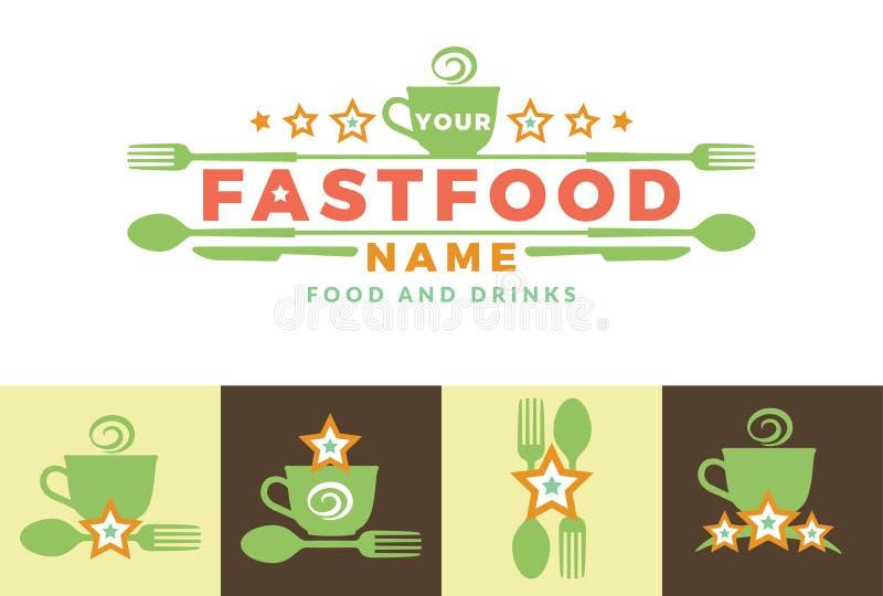 Στοιχεία προτύπων σχεδίου εικονιδίων λογότυπων σημαδιών λέξης τροφίμων με το κουτάλι και το δίκρανο Για τα εστιατόρια γρήγορου φα ελεύθερη απεικόνιση δικαιώματος