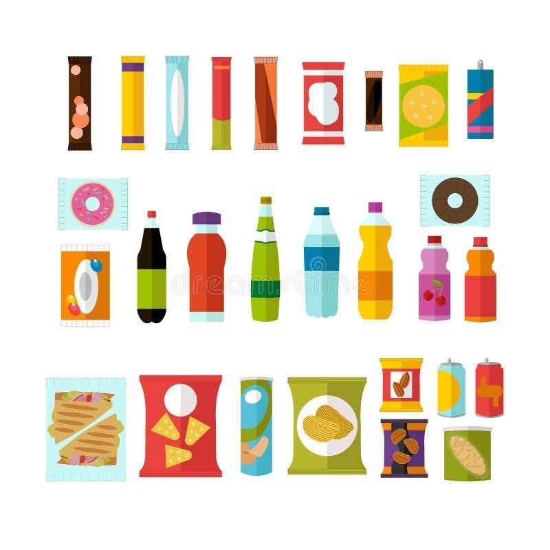 Στοιχεία προϊόντων μηχανών πώλησης καθορισμένα Διανυσματική απεικόνιση στο επίπεδο ύφος Στοιχεία τροφίμων και σχεδίου ποτών, εικο ελεύθερη απεικόνιση δικαιώματος