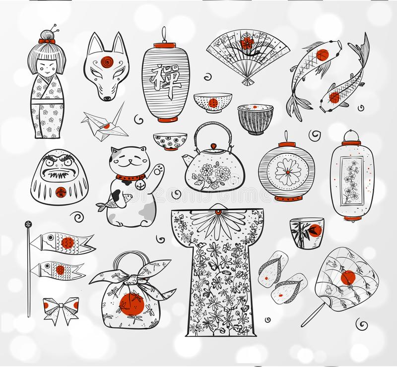 Στοιχεία σκίτσων της Ιαπωνίας doodle στο άσπρο καμμένος υπόβαθρο διανυσματική απεικόνιση