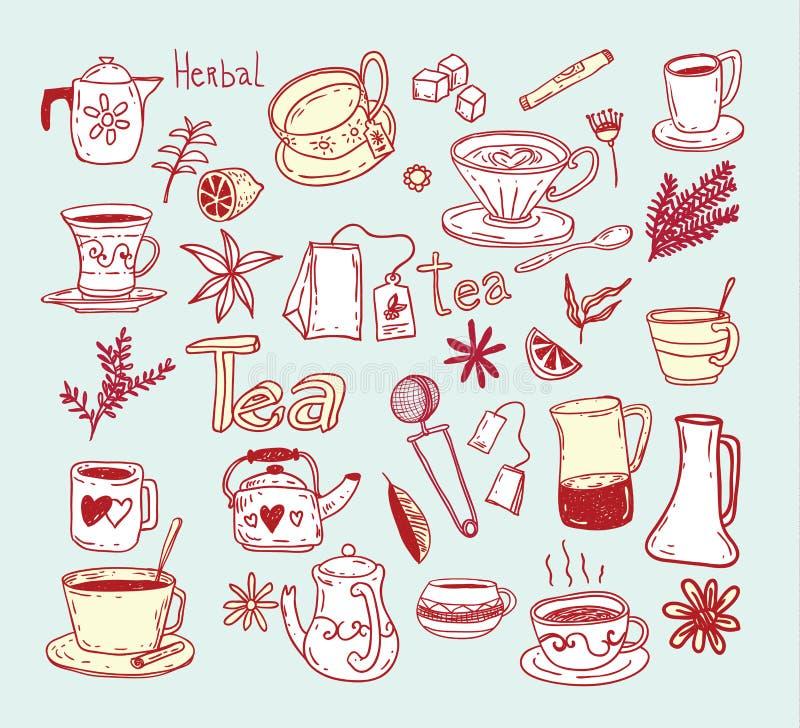 Στοιχεία σκίτσων τσαγιού doodle Συρμένη χέρι διανυσματική απεικόνιση διανυσματική απεικόνιση