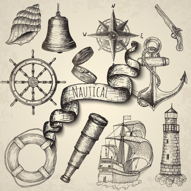 Στοιχεία στο θαλάσσιο θέμα απεικόνιση αποθεμάτων
