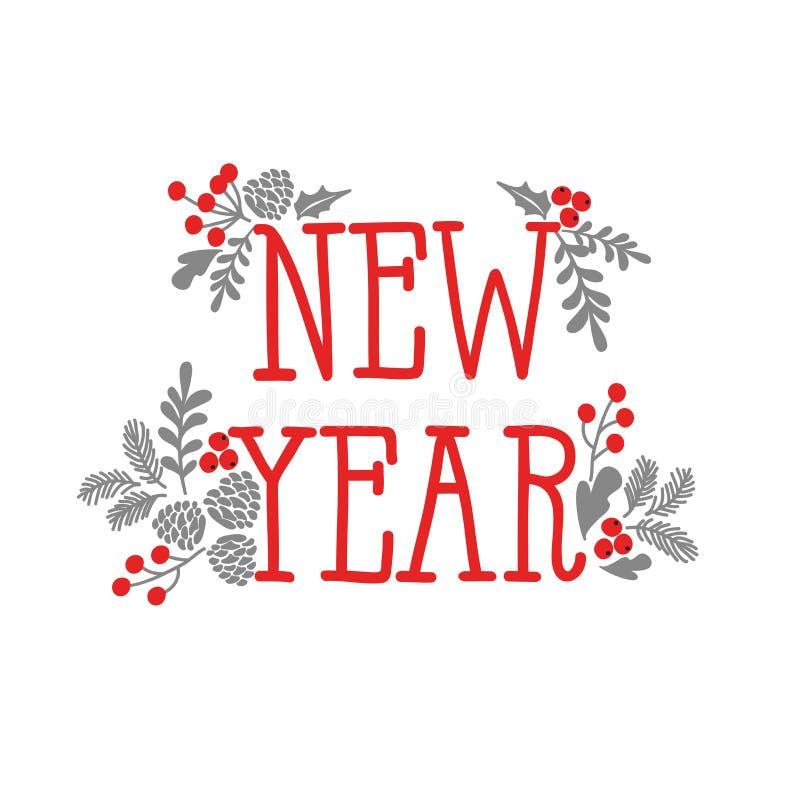 Στοιχεία σχεδίασης χειμερινών Χριστουγέννων Η επιγραφή 'Πρωτοχρονιά' διακοσμημένη με κλαδιά από ερυθρελάτη, μούρα και χόλι απεικόνιση αποθεμάτων