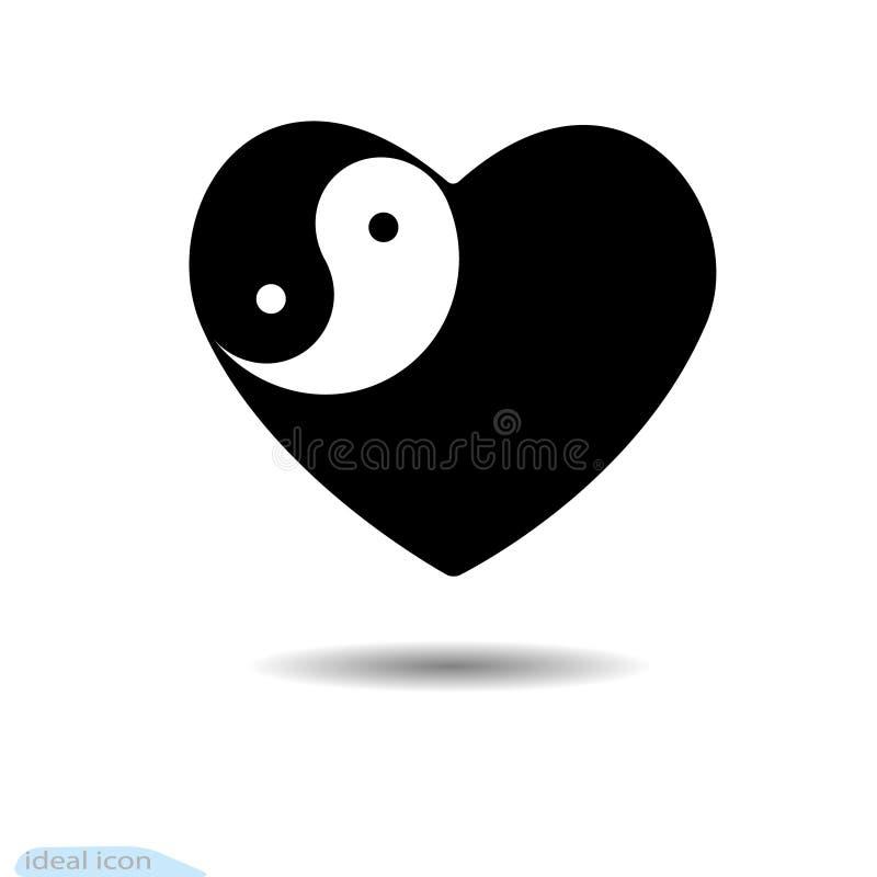 Στοιχεία σχεδίου για την ημέρα βαλεντίνων s Καρδιά Yang Yin διάνυσμα ελεύθερη απεικόνιση δικαιώματος