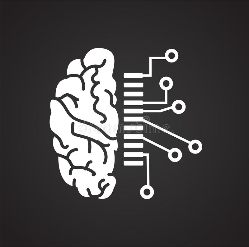 Στοιχεία σχεδίου εγκεφάλου όσον αφορά το μαύρο υπόβαθρο για το γραφικό και σχέδιο Ιστού, σύγχρονο απλό διανυσματικό σημάδι μπλε έ ελεύθερη απεικόνιση δικαιώματος