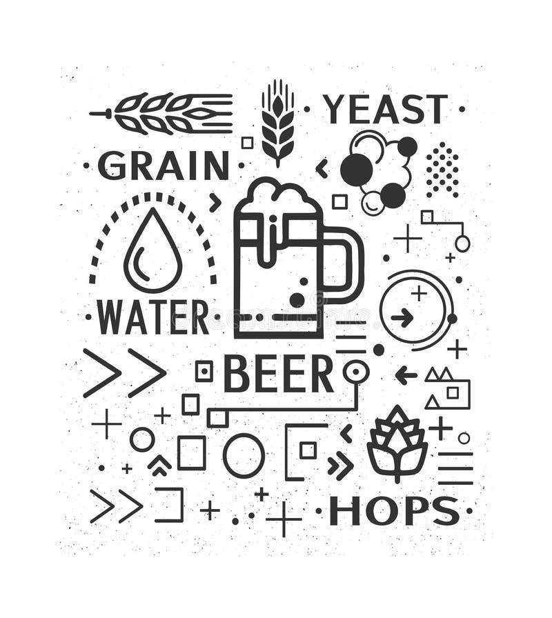 Στοιχεία σχεδίου εικονιδίων μπύρας φεστιβάλ το πιό oktoberfesτο απεικόνιση αποθεμάτων
