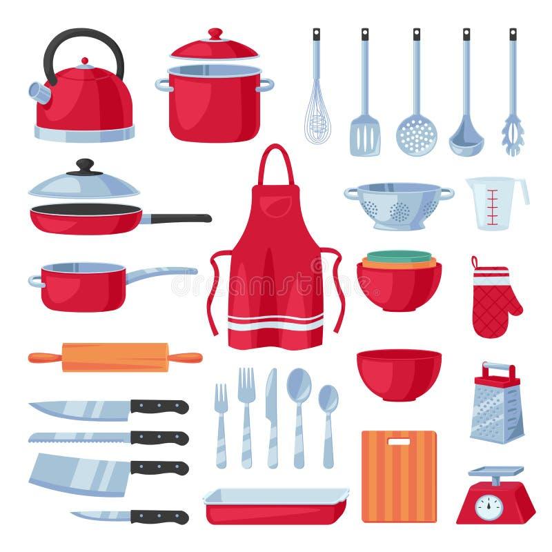 Στοιχεία σχεδίου εργαλείων κουζινών καθορισμένα, απομονωμένος στο άσπρο υπόβαθρο Διανυσματικό μαγείρεμα, σύγχρονη συλλογή εργαλεί διανυσματική απεικόνιση
