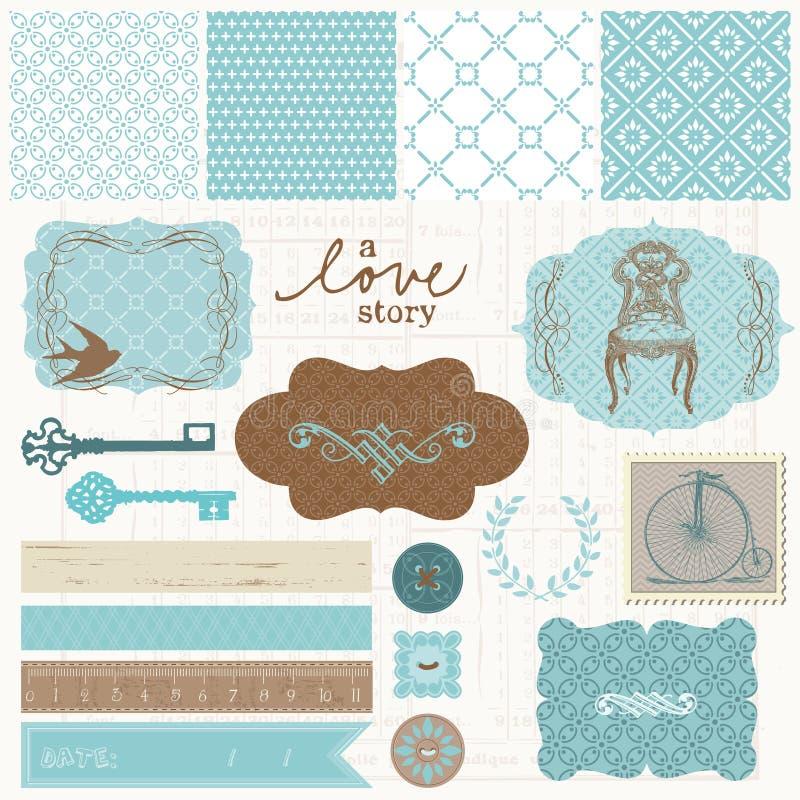 Στοιχεία σχεδίου λευκώματος αποκομμάτων - εκλεκτής ποιότητας σύνολο αγάπης απεικόνιση αποθεμάτων