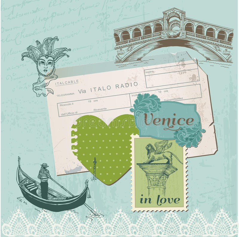 Στοιχεία σχεδίου λευκώματος αποκομμάτων - εκλεκτής ποιότητας σύνολο της Βενετίας διανυσματική απεικόνιση