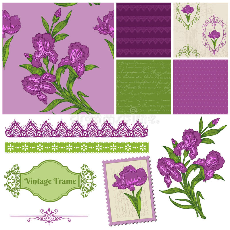 Στοιχεία σχεδίου λευκώματος αποκομμάτων - λουλούδια της Iris ελεύθερη απεικόνιση δικαιώματος