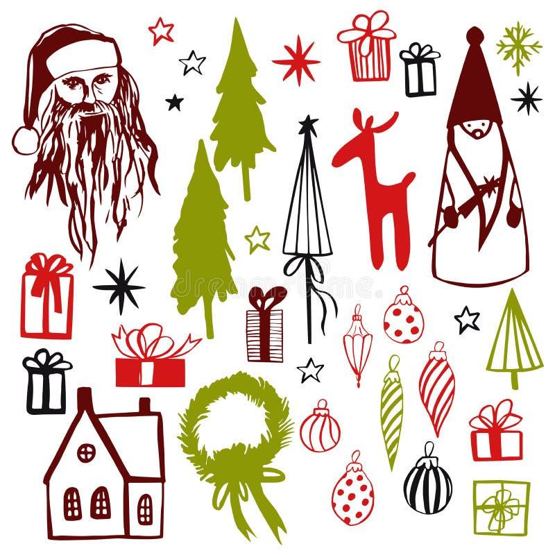 στοιχεία σχεδίου Χριστουγέννων που τίθενται Διανυσματική απεικόνιση σκίτσων διανυσματική απεικόνιση