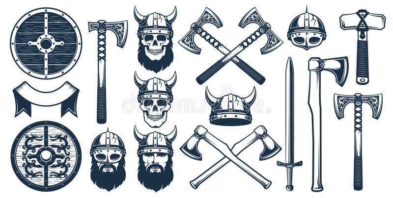 Στοιχεία σχεδίου όπλων Βίκινγκ για το εραλδικό λογότυπο ελεύθερη απεικόνιση δικαιώματος