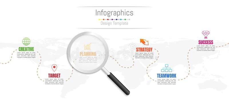 Στοιχεία σχεδίου Infographic για τα επιχειρησιακά στοιχεία σας με 6 επιλογές, τα μέρη, τα βήματα, τις υποδείξεις ως προς το χρόνο διανυσματική απεικόνιση