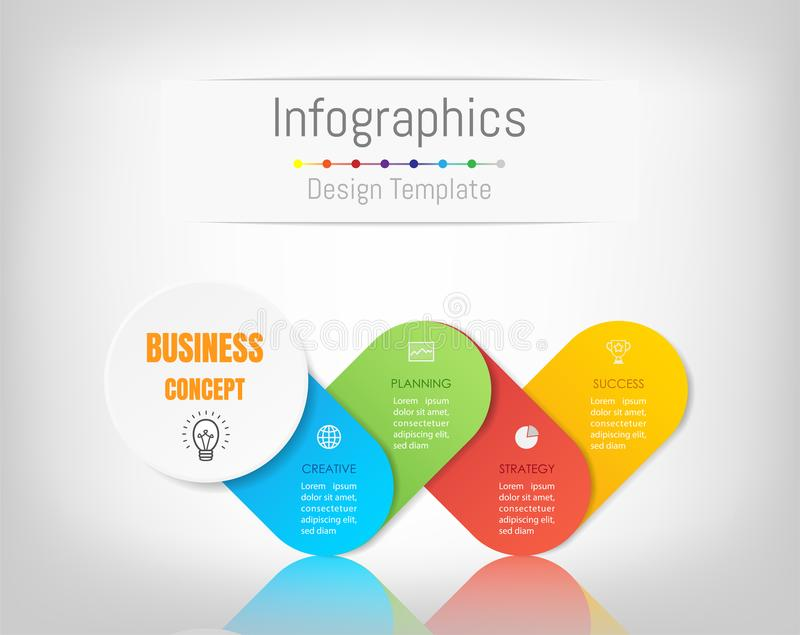 Στοιχεία σχεδίου Infographic για τα επιχειρησιακά στοιχεία σας με 4 επιλογές απεικόνιση αποθεμάτων
