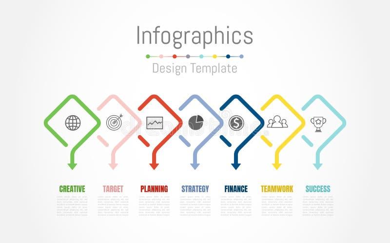 Στοιχεία σχεδίου Infographic για τα επιχειρησιακά στοιχεία σας με τις 7 επιλογές, τα μέρη, τα βήματα, υποδείξεις ως προς το χρόνο διανυσματική απεικόνιση