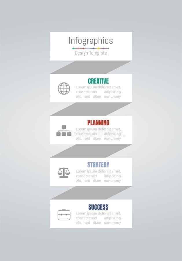 Στοιχεία σχεδίου Infographic για τα επιχειρησιακά στοιχεία σας με τις 4 επιλογές, τα μέρη, τα βήματα, υποδείξεις ως προς το χρόνο ελεύθερη απεικόνιση δικαιώματος