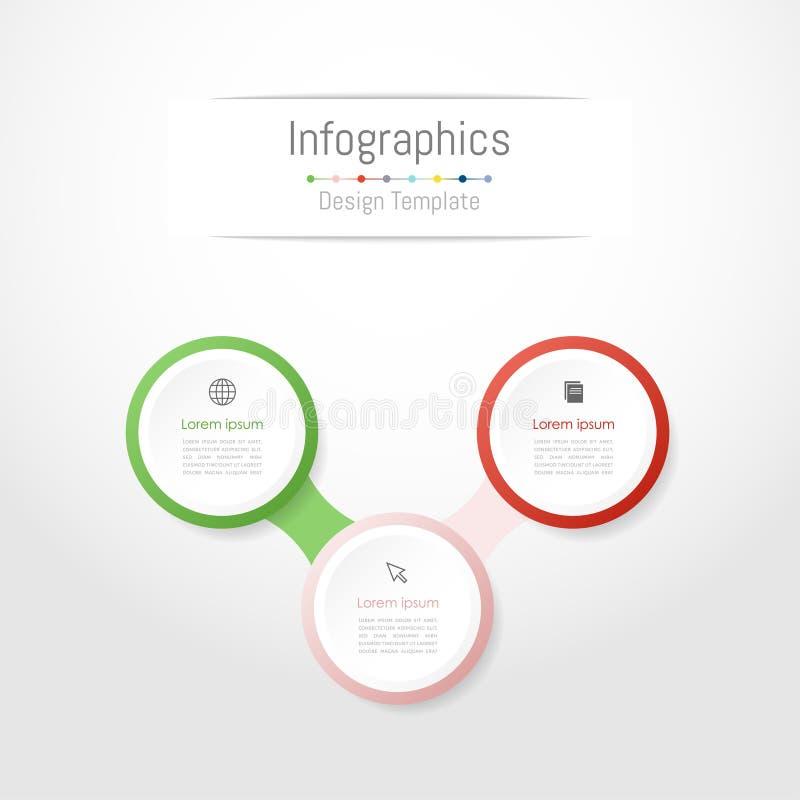 Στοιχεία σχεδίου Infographic για τα επιχειρησιακά στοιχεία σας με τις 3 επιλογές, τα μέρη, τα βήματα, υποδείξεις ως προς το χρόνο απεικόνιση αποθεμάτων