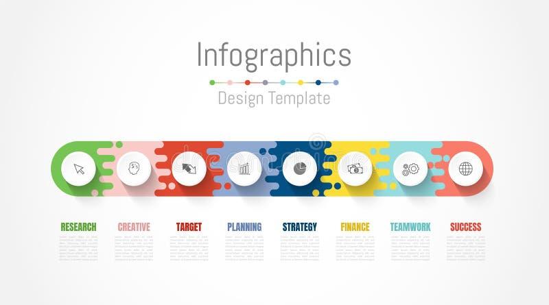 Στοιχεία σχεδίου Infographic για τα επιχειρησιακά στοιχεία σας με τις 8 επιλογές, τα μέρη, τα βήματα, υποδείξεις ως προς το χρόνο ελεύθερη απεικόνιση δικαιώματος