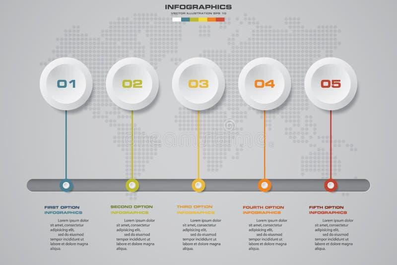 Στοιχεία σχεδίου Infographic για την επιχείρησή σας με 5 επιλογές παρουσίαση υπόδειξης ως προς το χρόνο 5 βημάτων διανυσματική απεικόνιση