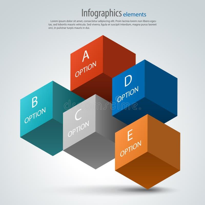 Στοιχεία σχεδίου επιλογών Infographics τρισδιάστατοι διανυσματικοί κύβοι απεικόνιση αποθεμάτων