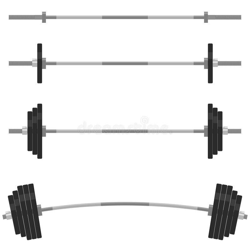 Στοιχεία σχεδίου ικανότητας, έμβλημα γυμναστικής Διάνυσμα Barbells απεικόνιση αποθεμάτων